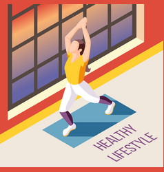 healthy lifestyle isometric background vector image
