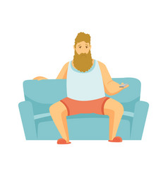 home leisure beard man sit on sofa and watch tv vector image