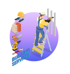 home repair isometric template repairer and tools vector image