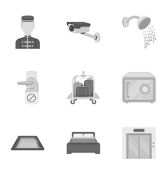 Hotel set icons in monochrome style Big vector