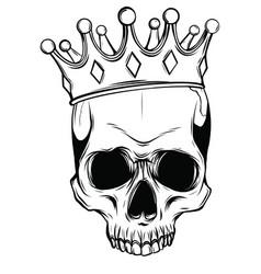 Human death skull in crown vector