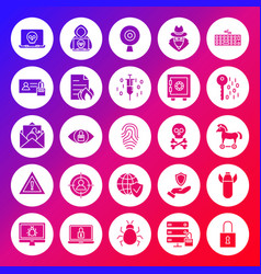 Internet security solid circle icons vector