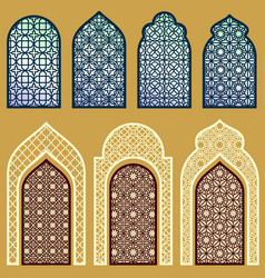 Islamic windows and doors with arabian art vector