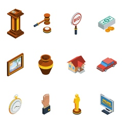 Isometric Auction Icon Set vector