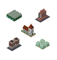 Isometric urban set of chapel house clinic and vector