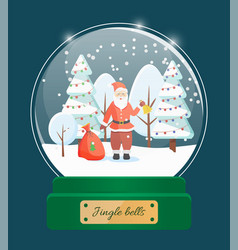 jingle bells santa claus in snow globe toy vector image