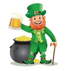 Leprechaun with beer vector