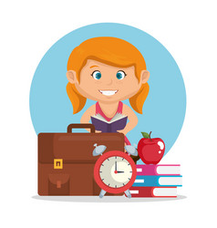 Little schoolgirl with education supplies vector