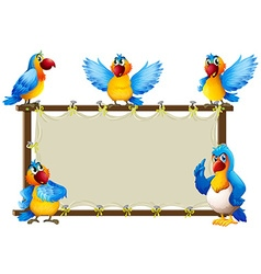 Macaw standing on wooden frame vector