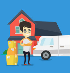 Man moving to house vector
