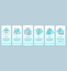Marketing channels turquoise gradient onboarding vector