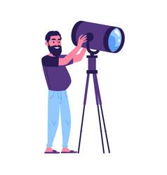 News or film producing crew member cameraman vector