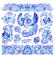 Ornament gzhel style painted blue art bird and vector