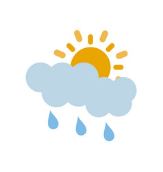 Partly covered cartoon sun with rain clouds icon vector
