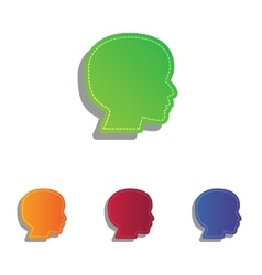 People head sign Colorfull applique icons set vector image