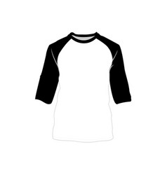 Raglan shirt black white fashion style item vector