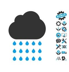 Rain Cloud Icon With Tools Bonus vector
