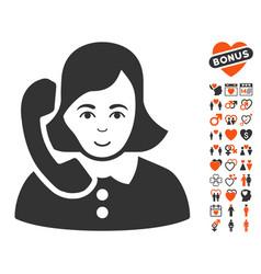 receptionist icon with valentine bonus vector image
