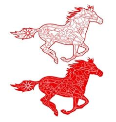 Red horses vector image