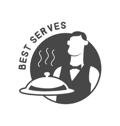 Restaurant cloche in hand the waiter icon vector