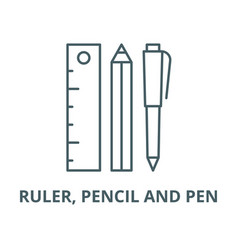 ruler pencil and pen line icon linear vector image