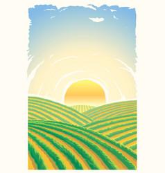 Rural landscape with sunrise over hills vector