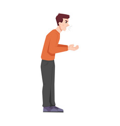 Screaming or shouting teenager isolated angry guy vector