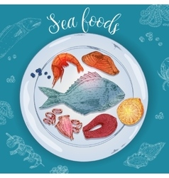 Seafood Hand Drawn vector image