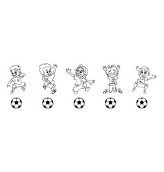set of children soccer players a ball game vector image