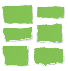 set of green paper different shapes tears vector image
