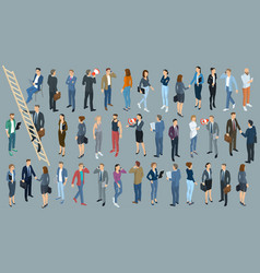 Set of isometric people vector