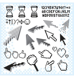 Set of Pixel Elements and Symbols Image vector
