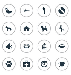 Set of simple fauna icons vector