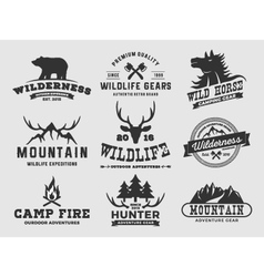 Set outdoor wilderness adventure and mountain vector