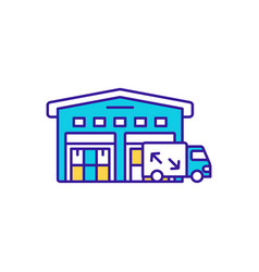 Storehouse delivery rgb color icon vector