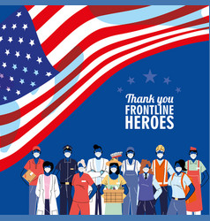 Thanks to front line workers diverse people vector