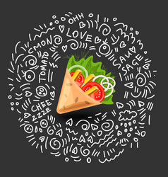 Tortilla wrap cartoon mexican vector