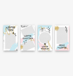 trendy editable winter set templates vector image