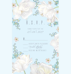 Tulip rsvp card blue vector