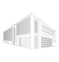 Wireframe modern building vector