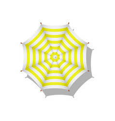 Yellow and white striped beach umbrella vector