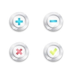 Yes no and plus minus buttons Tick cross round vector image
