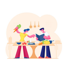 Young loving couple cooking together on kitchen vector