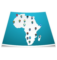 African map with flag pin vector image vector image
