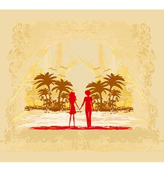 Couple in love looking at the sunset vector image