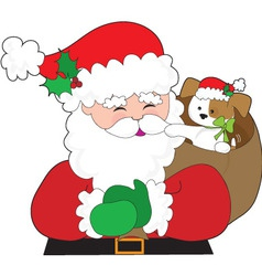 santa and puppy gift vector image vector image