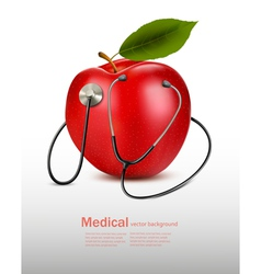 Stethoscope and red apple Medical background vector image vector image