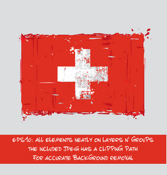 swiss flag flat - artistic brush strokes and vector image