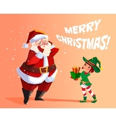 Elf santa s assistant with gifts vector