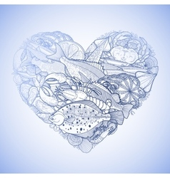 Graphic seafood in the shape of heart vector image vector image